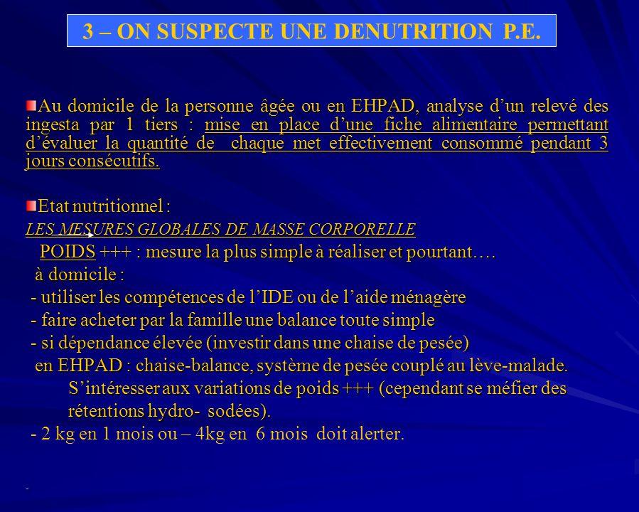 TAILLE : + discutable en gériatrie (calcul par la distance talon-genou) : (2,02 x dTGcm) – (0,04 x âge) + 64,19 : (1,83 x dTGcm) – (0,24 x âge) + 84,88 Intérêt pour lIMC = Poids Kg/m² Taille ² IMC < 22 patient dénutri
