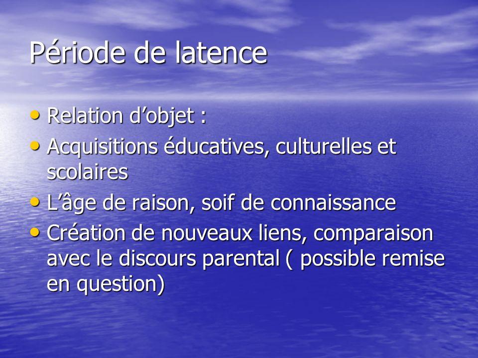 Période de latence Relation dobjet : Relation dobjet : Acquisitions éducatives, culturelles et scolaires Acquisitions éducatives, culturelles et scola