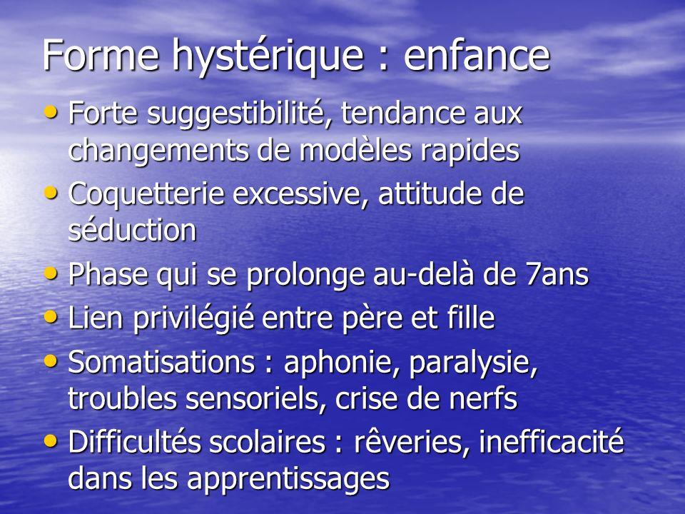 Forme hystérique : enfance Forte suggestibilité, tendance aux changements de modèles rapides Forte suggestibilité, tendance aux changements de modèles