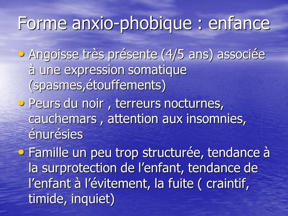 Forme anxio-phobique : enfance Angoisse très présente (4/5 ans) associée à une expression somatique (spasmes,étouffements) Angoisse très présente (4/5