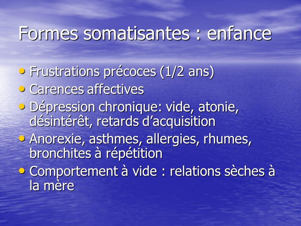 Formes somatisantes : enfance Frustrations précoces (1/2 ans) Frustrations précoces (1/2 ans) Carences affectives Carences affectives Dépression chron