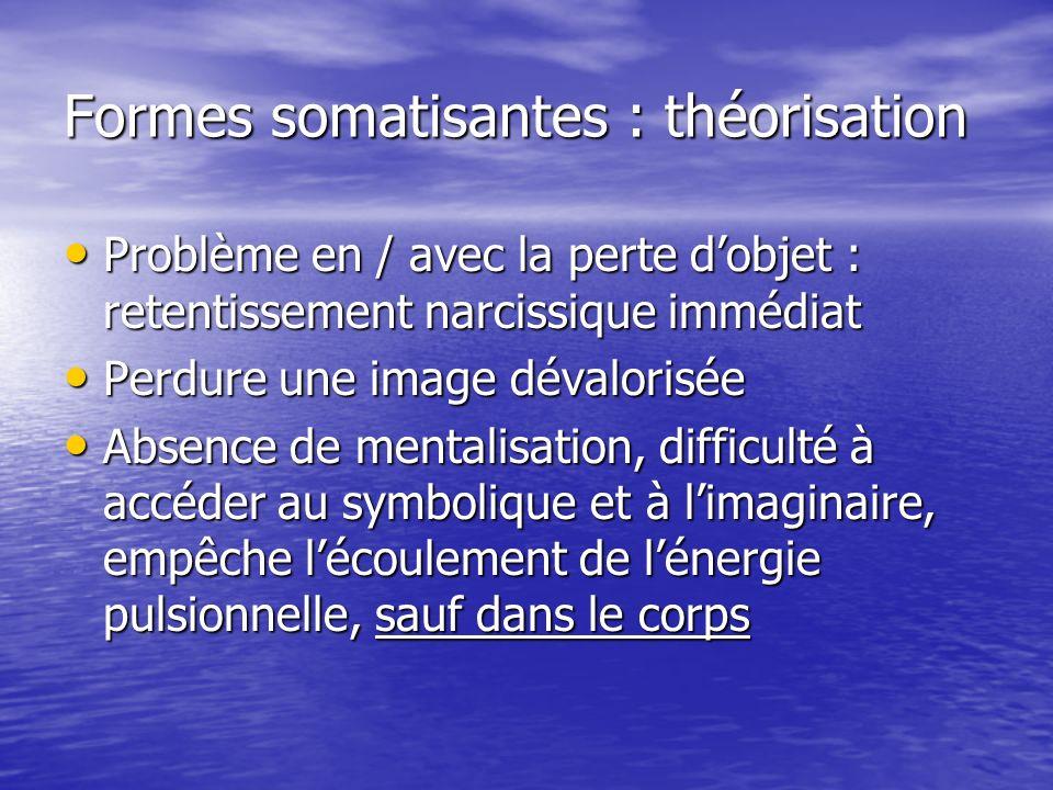 Formes somatisantes : théorisation Problème en / avec la perte dobjet : retentissement narcissique immédiat Problème en / avec la perte dobjet : reten