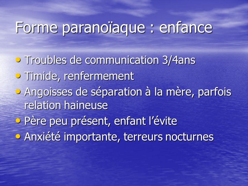 Forme paranoïaque : enfance Troubles de communication 3/4ans Troubles de communication 3/4ans Timide, renfermement Timide, renfermement Angoisses de s