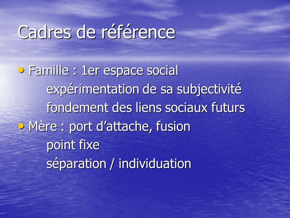 Cadres de référence Famille : 1er espace social Famille : 1er espace social expérimentation de sa subjectivité fondement des liens sociaux futurs Mère