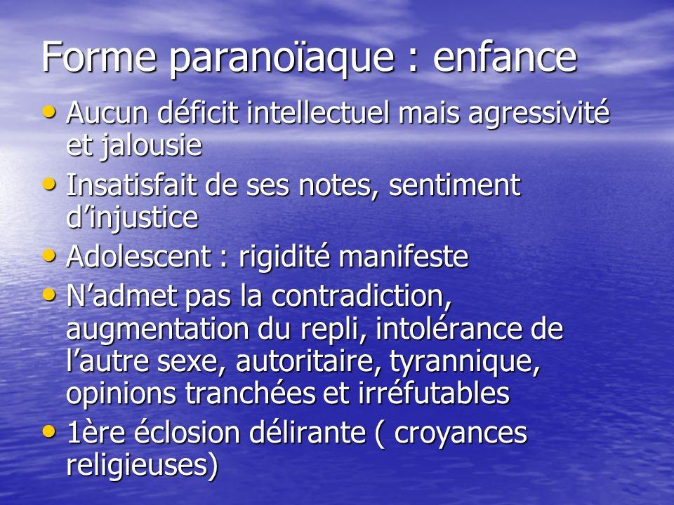 Forme paranoïaque : enfance Aucun déficit intellectuel mais agressivité et jalousie Aucun déficit intellectuel mais agressivité et jalousie Insatisfai