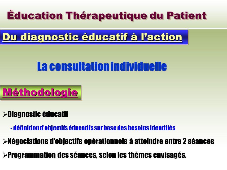 Éducation Thérapeutique du Patient Du diagnostic éducatif à laction La consultation individuelle MéthodologieMéthodologie Diagnostic éducatif - défini