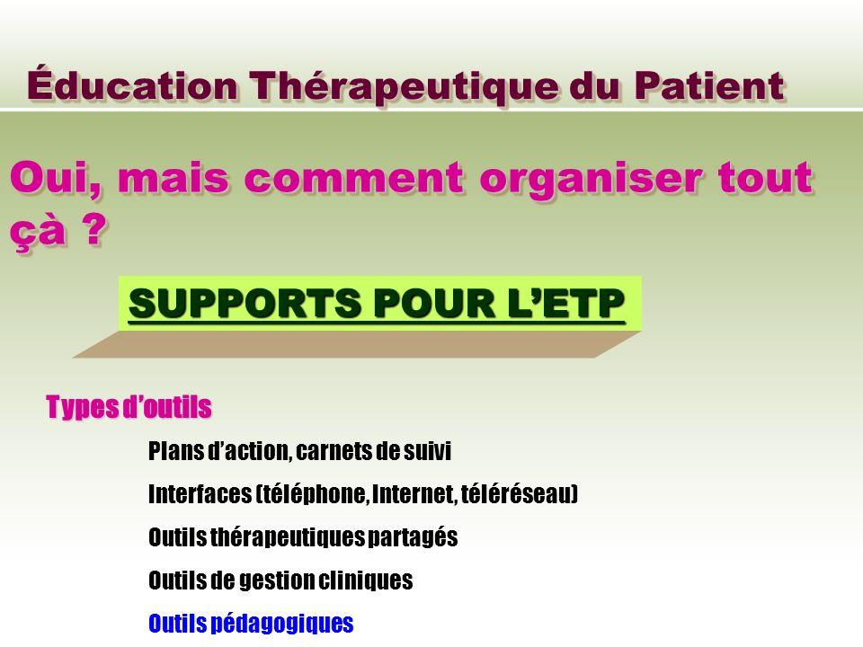 Éducation Thérapeutique du Patient Oui, mais comment organiser tout çà ? SUPPORTS POUR LETP Types doutils Plans daction, carnets de suivi Interfaces (
