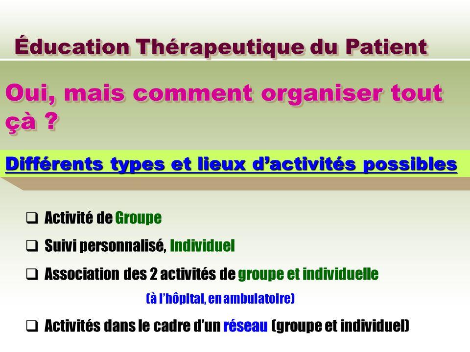 Éducation Thérapeutique du Patient Oui, mais comment organiser tout çà ? Différents types et lieux dactivités possibles Activité de Groupe Suivi perso