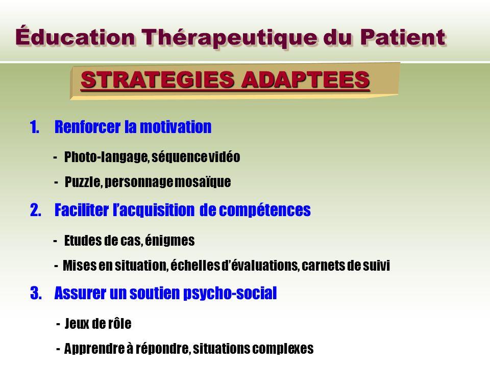 Éducation Thérapeutique du Patient STRATEGIES ADAPTEES 1.Renforcer la motivation - Photo-langage, séquence vidéo - Puzzle, personnage mosaïque 2.Facil