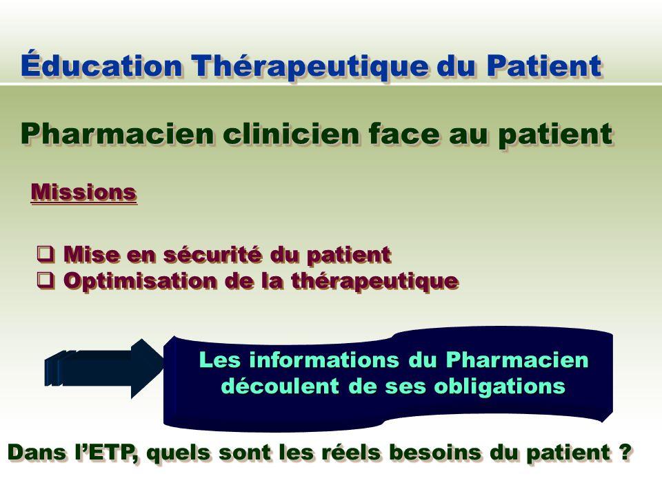 Missions Mise en sécurité du patient Optimisation de la thérapeutique Mise en sécurité du patient Optimisation de la thérapeutique Éducation Thérapeut