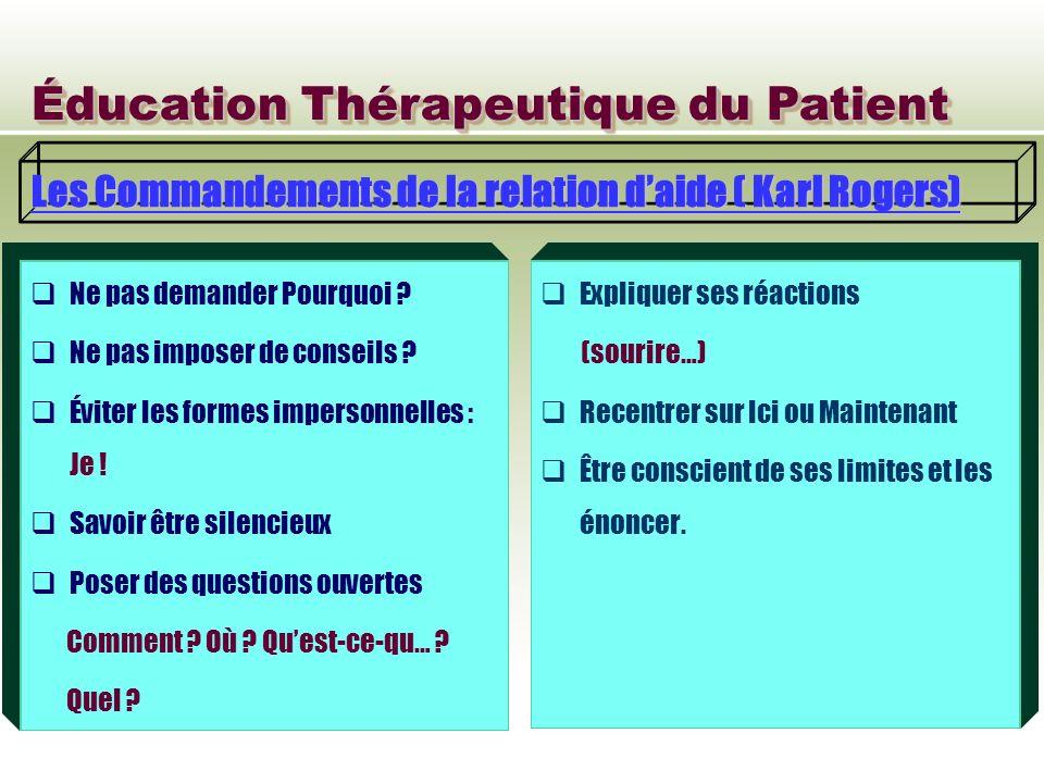 Éducation Thérapeutique du Patient Les Commandements de la relation daide ( Karl Rogers) Ne pas demander Pourquoi ? Ne pas imposer de conseils ? Évite