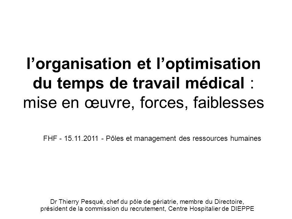 lorganisation et loptimisation du temps de travail médical : mise en œuvre, forces, faiblesses Dr Thierry Pesqué, chef du pôle de gériatrie, membre du