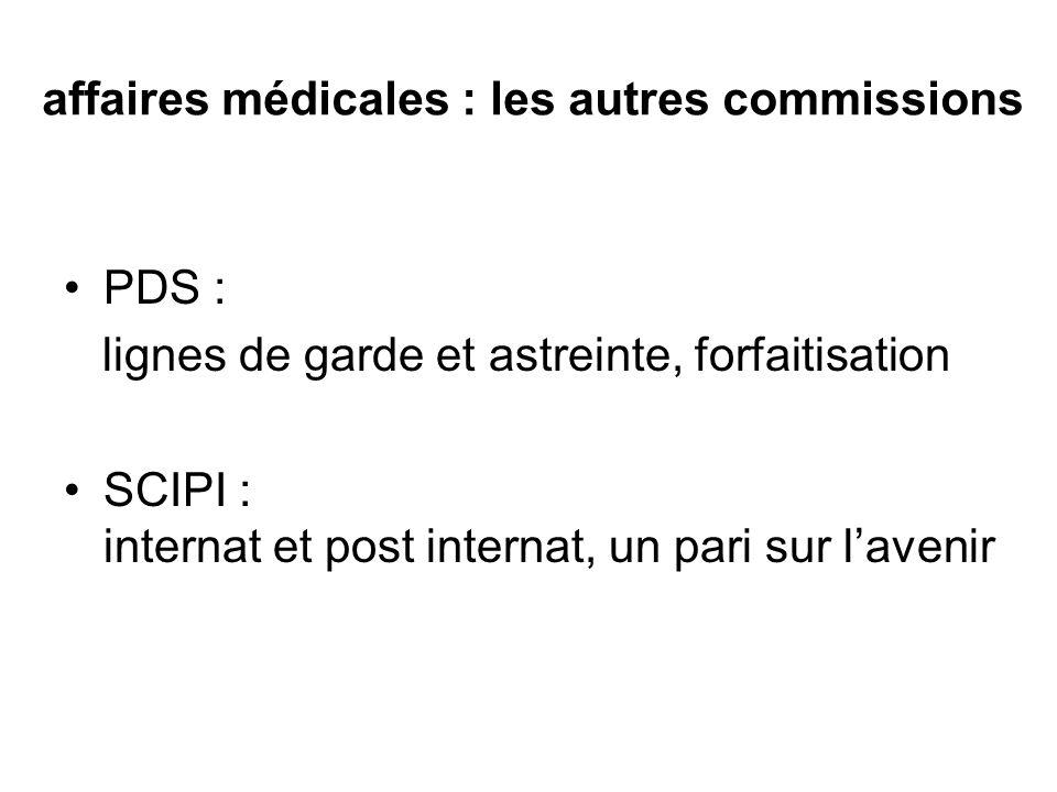 affaires médicales : les autres commissions PDS : lignes de garde et astreinte, forfaitisation SCIPI : internat et post internat, un pari sur lavenir
