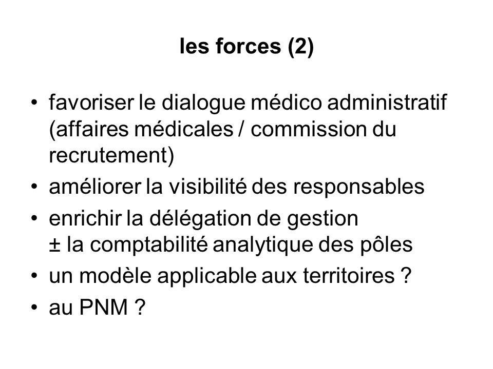 les forces (2) favoriser le dialogue médico administratif (affaires médicales / commission du recrutement) améliorer la visibilité des responsables en