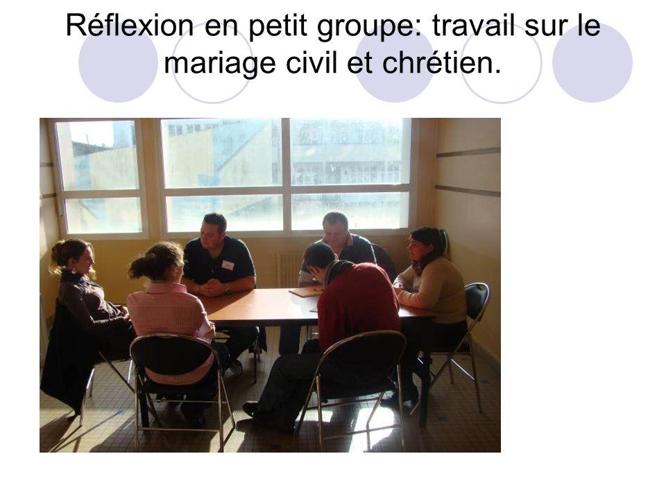 Réflexion en petit groupe: travail sur le mariage civil et chrétien.