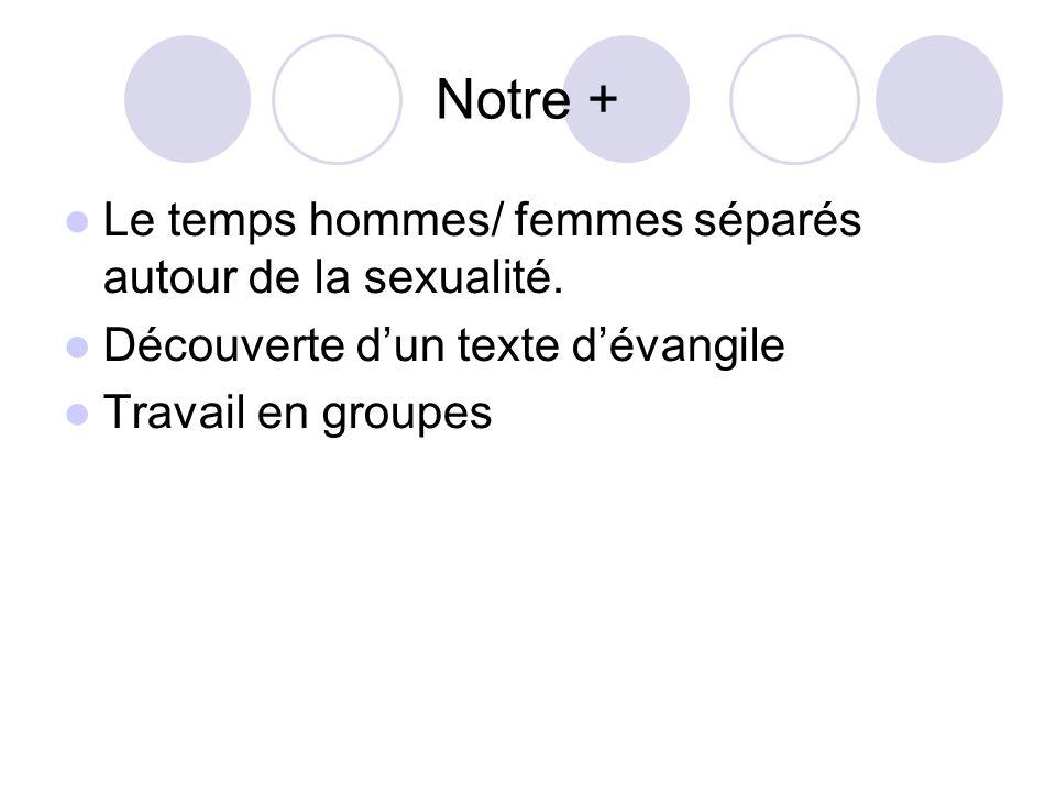 Notre + Le temps hommes/ femmes séparés autour de la sexualité.