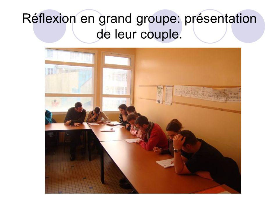 Réflexion en grand groupe: présentation de leur couple.