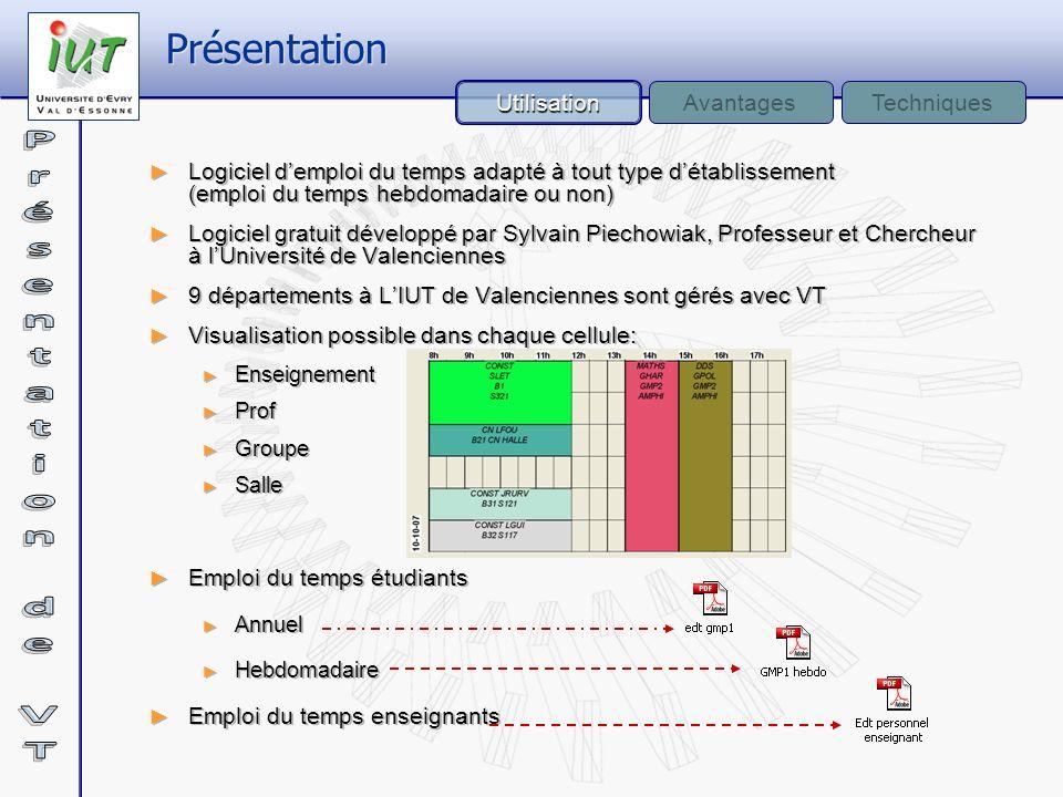 Logiciel demploi du temps adapté à tout type détablissement (emploi du temps hebdomadaire ou non) Logiciel gratuit développé par Sylvain Piechowiak, P