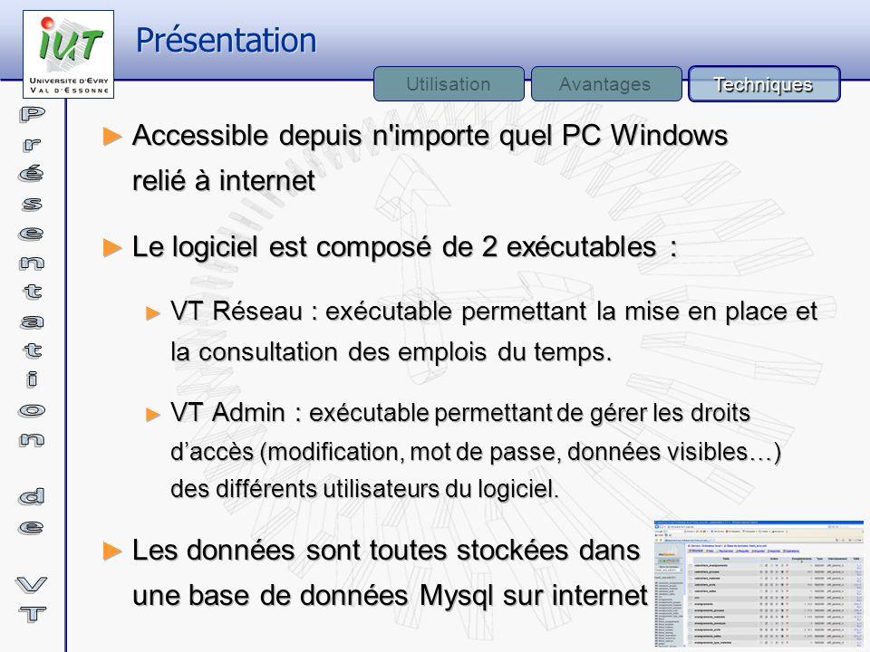 Accessible depuis n'importe quel PC Windows relié à internet Le logiciel est composé de 2 exécutables : VT Réseau : exécutable permettant la mise en p