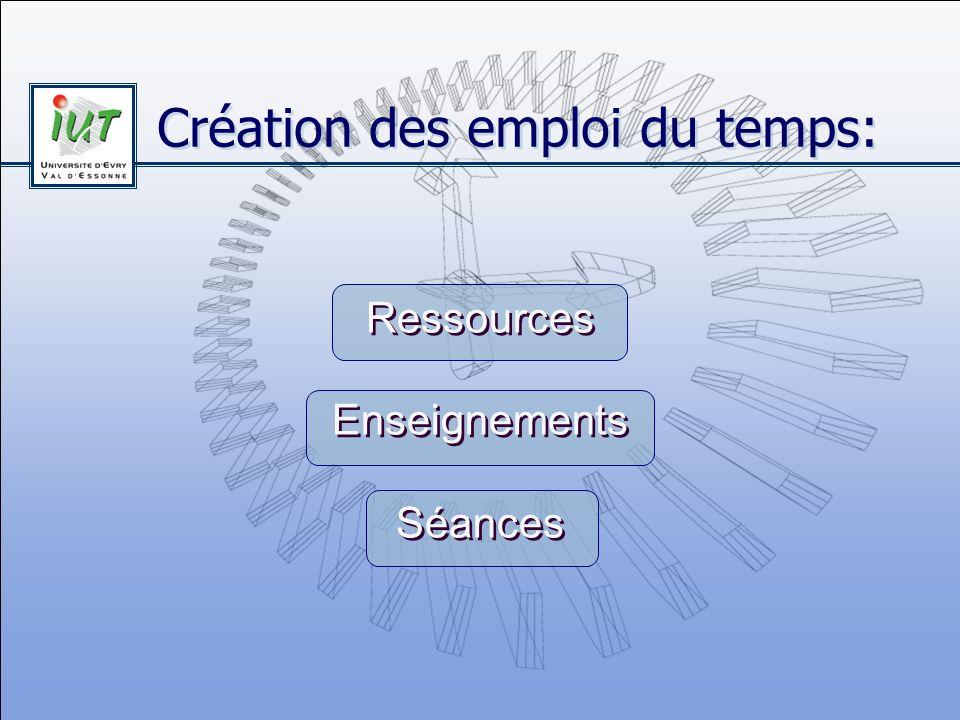 Création des emploi du temps: Ressources Enseignements Séances Ressources Enseignements Séances