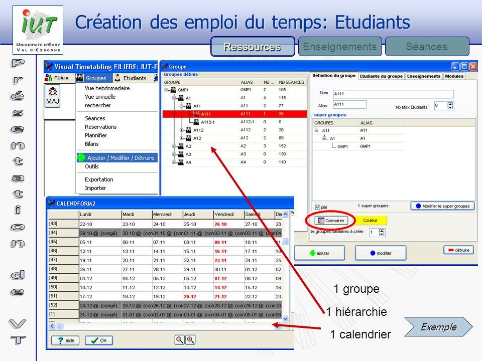 1 hiérarchie 1 groupe 1 calendrier Ressources EnseignementsSéances Création des emploi du temps: Etudiants Exemple