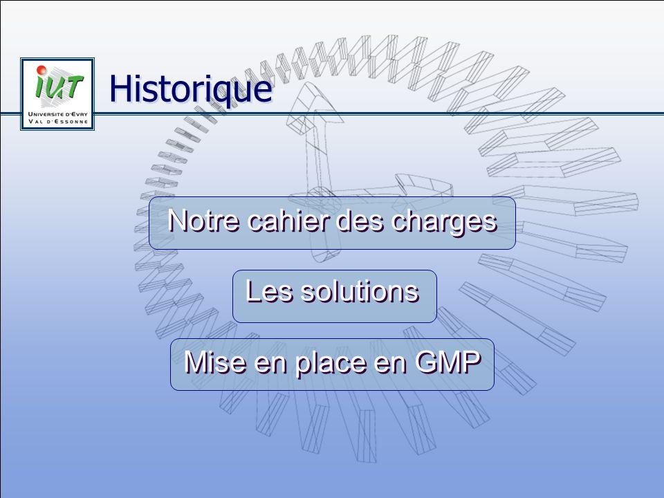 Historique Notre cahier des charges Les solutions Mise en place en GMP Notre cahier des charges Les solutions Mise en place en GMP