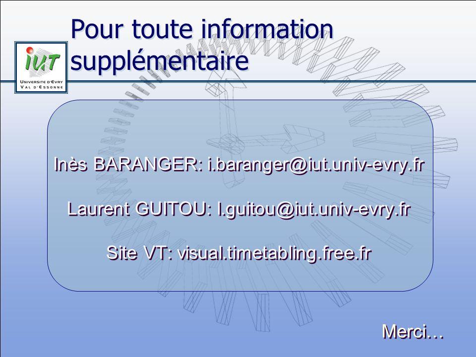 Pour toute information supplémentaire Inès BARANGER: i.baranger@iut.univ-evry.fr Laurent GUITOU: l.guitou@iut.univ-evry.fr Site VT: visual.timetabling