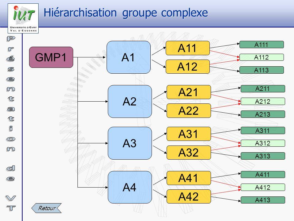 GMP1 A1 A11 A12 A111 A112 A113 A2 A21 A22 A211 A212 A213 A3 A31 A32 A311 A312 A313 A4 A41 A42 A411 A412 A413 Hiérarchisation groupe complexe Retour