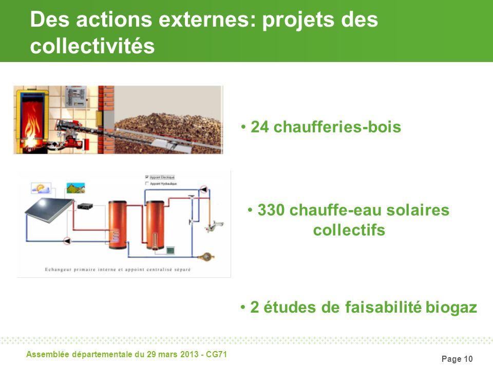 Page 10 Assemblée départementale du 29 mars 2013 - CG71 Des actions externes: projets des collectivités 24 chaufferies-bois 330 chauffe-eau solaires c