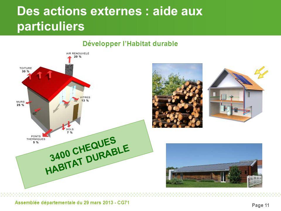 Page 11 Assemblée départementale du 29 mars 2013 - CG71 Des actions externes : aide aux particuliers Développer lHabitat durable 3400 CHEQUES HABITAT