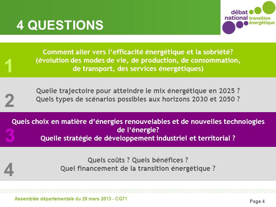 Page 4 Assemblée départementale du 29 mars 2013 - CG71 4 QUESTIONS Quels coûts ? Quels bénéfices ? Quel financement de la transition énergétique ? Com