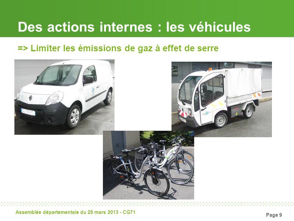 Page 10 Assemblée départementale du 29 mars 2013 - CG71 Des actions externes: projets des collectivités 24 chaufferies-bois 330 chauffe-eau solaires collectifs 2 études de faisabilité biogaz