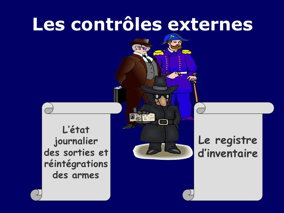 Les contrôles externes Létat journalier des sorties et réintégrations des armes Le registre dinventaire