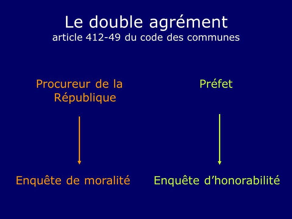 Le double agrément article 412-49 du code des communes Procureur de la République Préfet Enquête de moralitéEnquête dhonorabilité