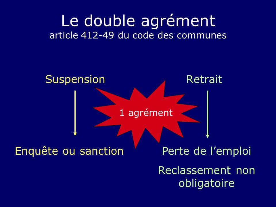 Le double agrément article 412-49 du code des communes SuspensionRetrait Enquête ou sanctionPerte de lemploi Reclassement non obligatoire 1 agrément
