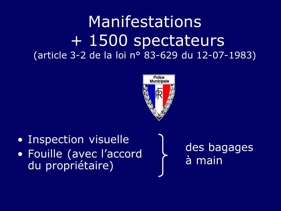Manifestations + 1500 spectateurs (article 3-2 de la loi n° 83-629 du 12-07-1983) Inspection visuelle Fouille (avec laccord du propriétaire) des bagag