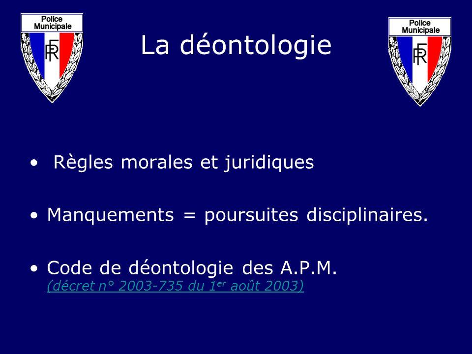 La déontologie Règles morales et juridiques Manquements = poursuites disciplinaires. Code de déontologie des A.P.M. (décret n° 2003-735 du 1 er août 2