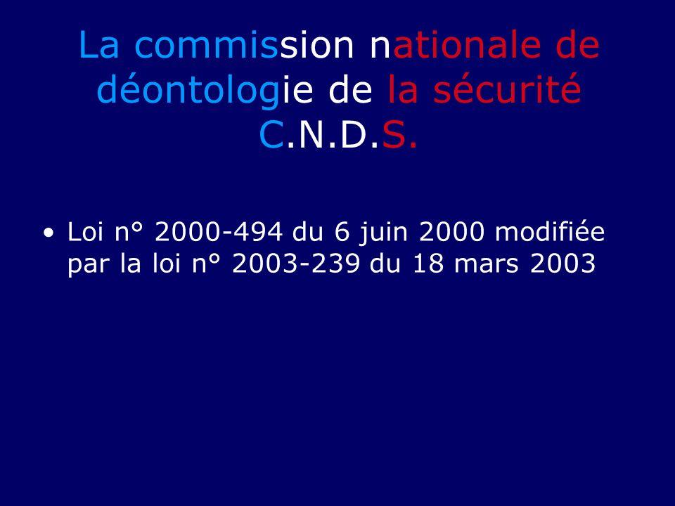 La commission nationale de déontologie de la sécurité C.N.D.S. Loi n° 2000-494 du 6 juin 2000 modifiée par la loi n° 2003-239 du 18 mars 2003