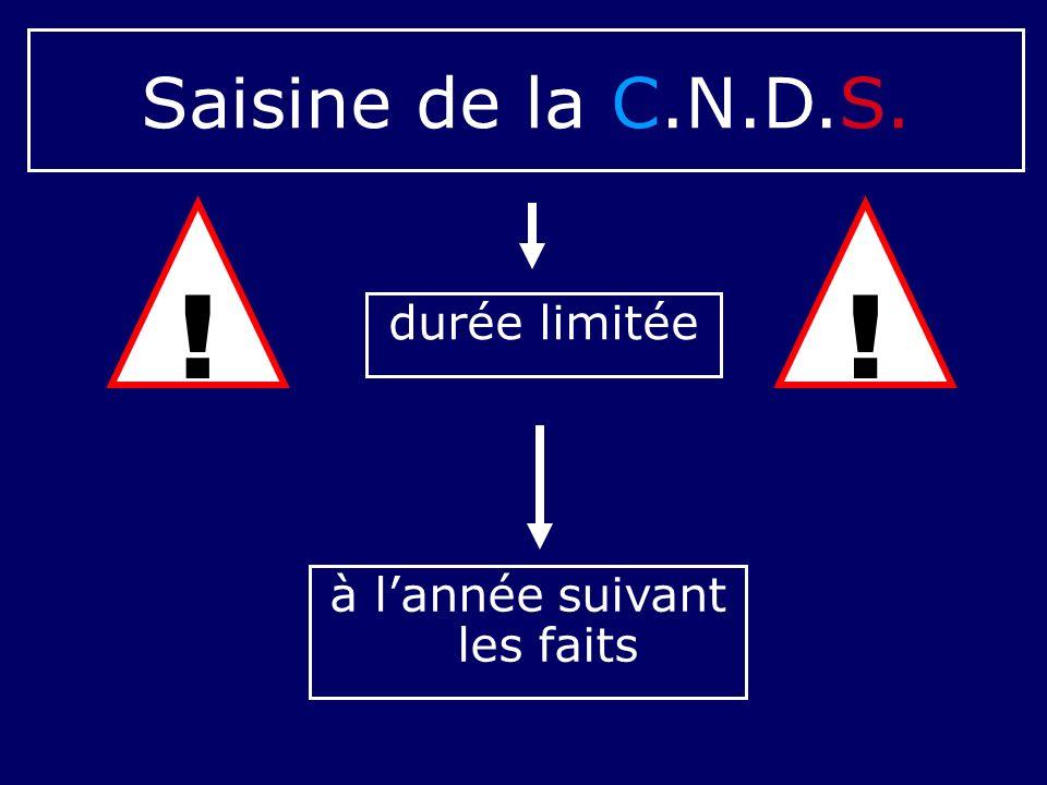 durée limitée à lannée suivant les faits Saisine de la C.N.D.S. !!