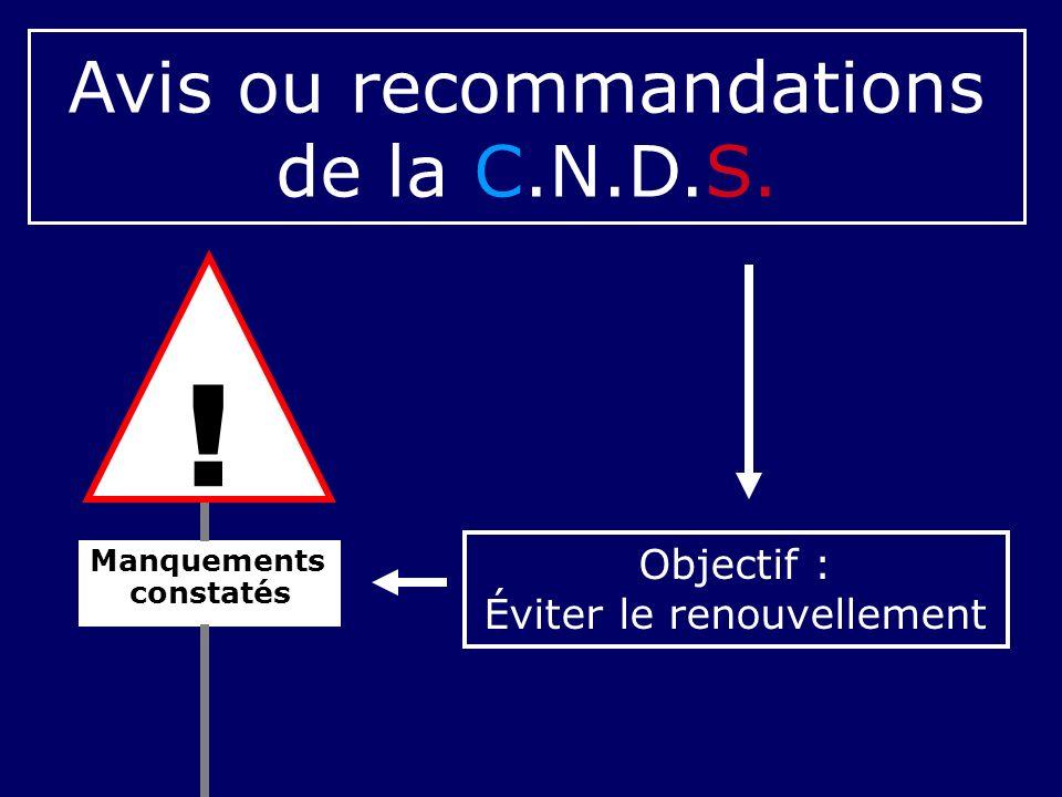 Manquements constatés Avis ou recommandations de la C.N.D.S. Objectif : Éviter le renouvellement !