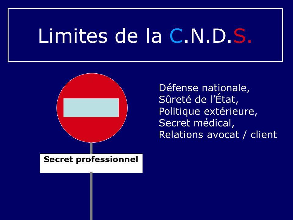 Secret professionnel Limites de la C.N.D.S. Défense nationale, Sûreté de lÉtat, Politique extérieure, Secret médical, Relations avocat / client