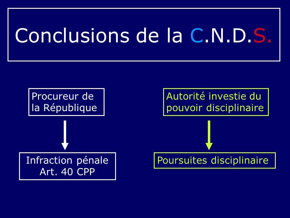 Conclusions de la C.N.D.S. Autorité investie du pouvoir disciplinaire Procureur de la République Infraction pénale Art. 40 CPP Poursuites disciplinair