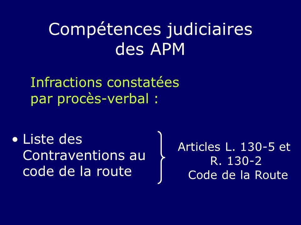 Liste des Contraventions au code de la route Articles L. 130-5 et R. 130-2 Code de la Route Compétences judiciaires des APM Infractions constatées par