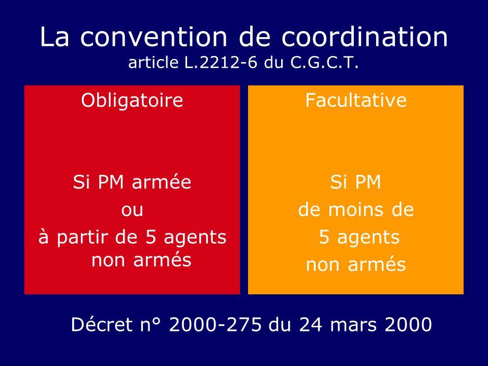 La convention de coordination article L.2212-6 du C.G.C.T. Obligatoire Si PM armée ou à partir de 5 agents non armés Facultative Si PM de moins de 5 a