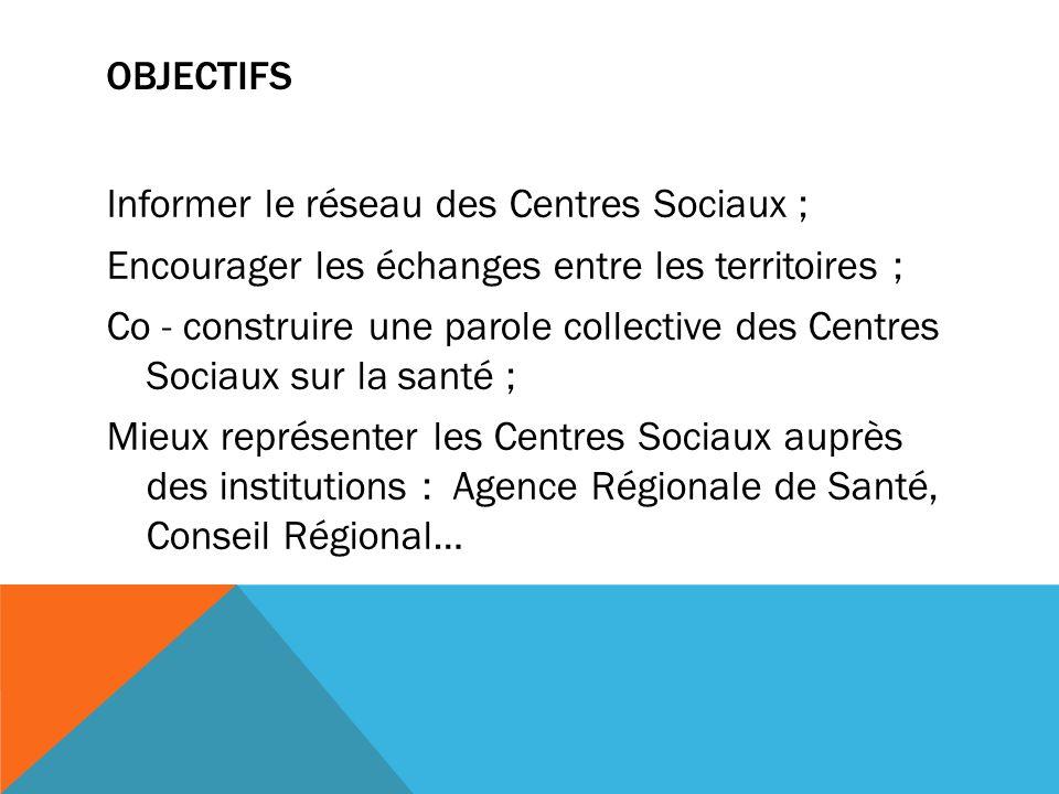 OBJECTIFS Informer le réseau des Centres Sociaux ; Encourager les échanges entre les territoires ; Co - construire une parole collective des Centres Sociaux sur la santé ; Mieux représenter les Centres Sociaux auprès des institutions : Agence Régionale de Santé, Conseil Régional…