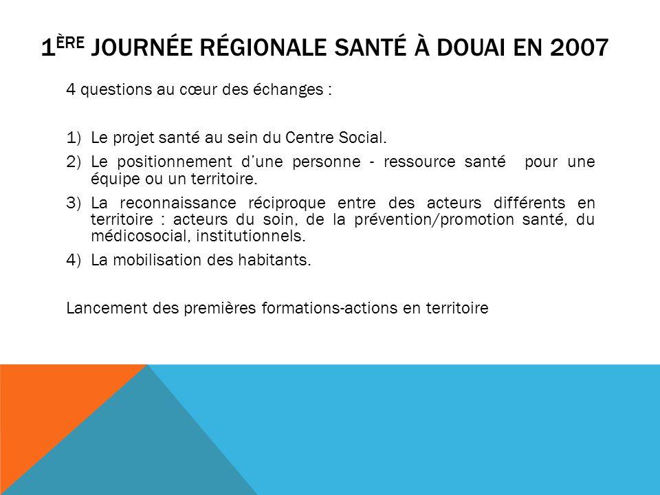 1 ÈRE JOURNÉE RÉGIONALE SANTÉ À DOUAI EN 2007 4 questions au cœur des échanges : 1)Le projet santé au sein du Centre Social.