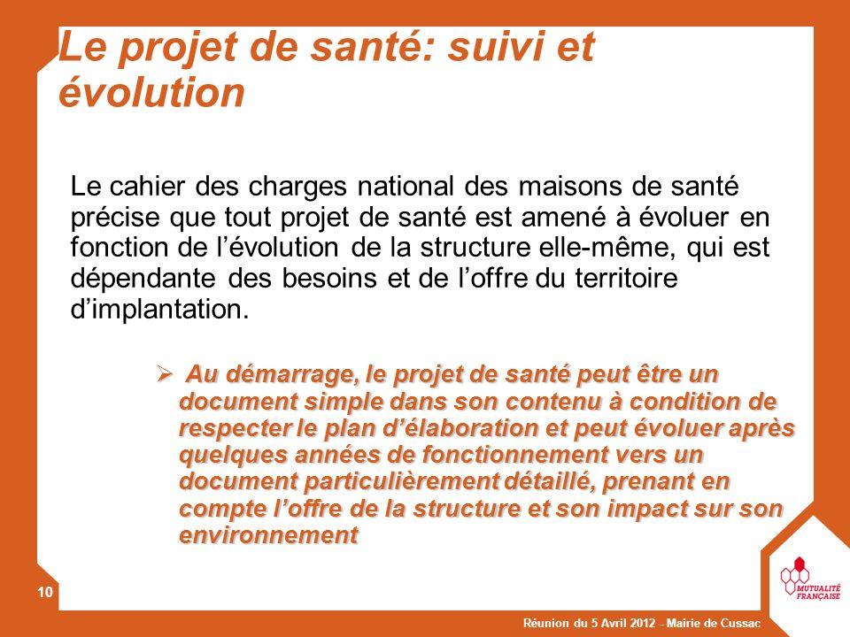 Réunion du 5 Avril 2012 - Mairie de Cussac 10 Le cahier des charges national des maisons de santé précise que tout projet de santé est amené à évoluer