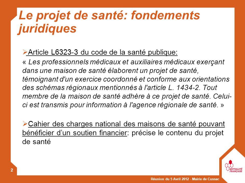 Réunion du 5 Avril 2012 - Mairie de Cussac 2 Le projet de santé: fondements juridiques Article L6323-3 du code de la santé publique: « Les professionn