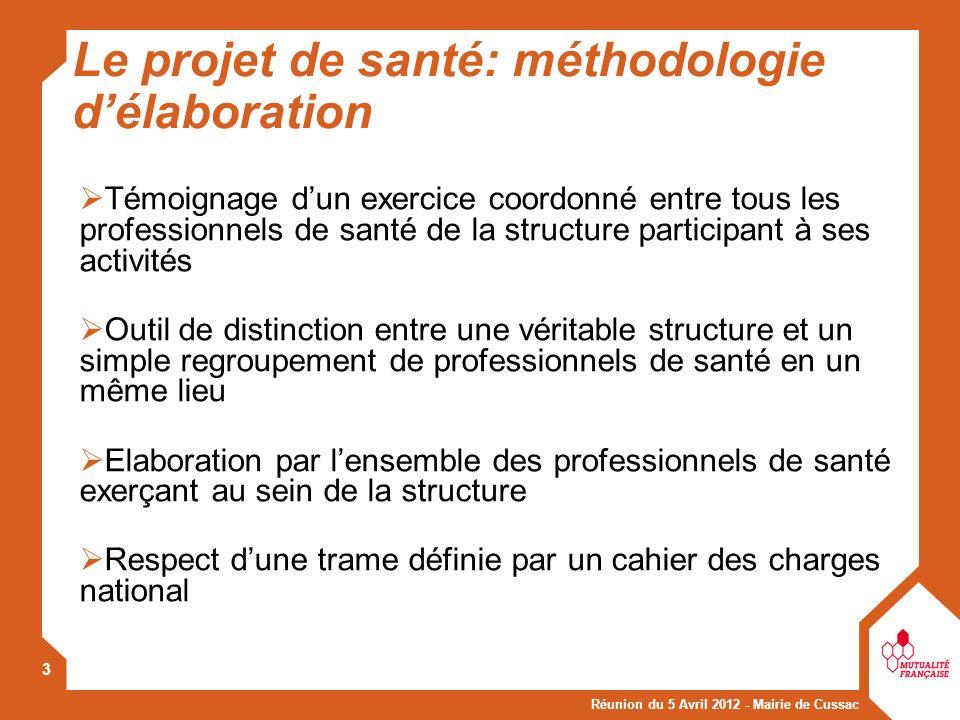 Réunion du 5 Avril 2012 - Mairie de Cussac 4 Un contenu en 2 parties : le diagnostic préalable des besoins du territoire; le projet de santé de la structure: le projet professionnel et le projet dorganisation de la prise en charge.