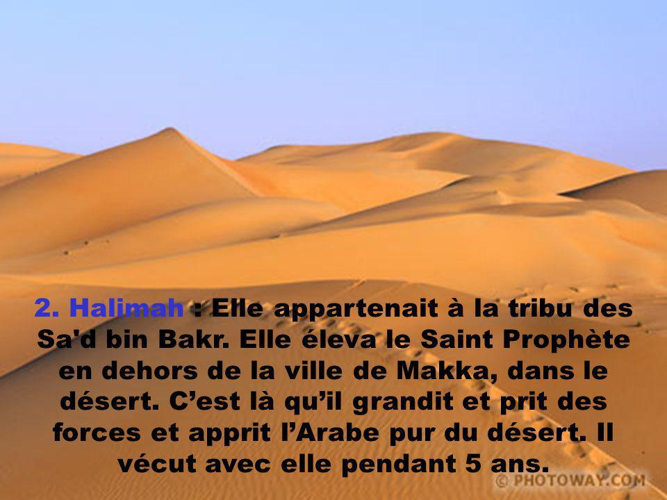2. Halimah : Elle appartenait à la tribu des Sa'd bin Bakr. Elle éleva le Saint Prophète en dehors de la ville de Makka, dans le désert. Cest là quil